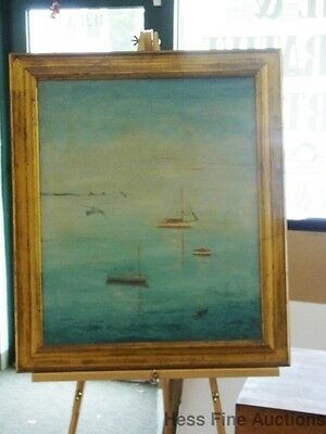 Vivian Mandeville Early Morning boats on water oil on canvas signed 47