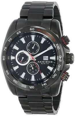 Akribos XXIV AK672BK Swiss Quartz Stainless Steel Tachymeter Bracelet Mens Watch