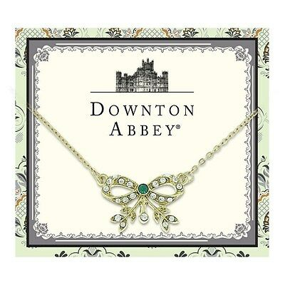 Downton Abbey Collection Green Jewel Gold Bow Pendant Necklace 17555 Free Ship