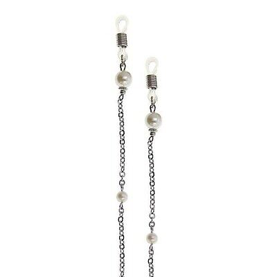 1928 Jewelry Boutique Silver & Pearl Eyeglass Holder Chain 51524 Free Shipping