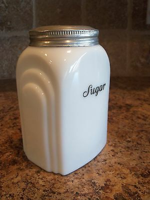 RARE VINTAGE McKee Roman Arch Milkglass Sugar Canister  w/Tin Screw on Lid