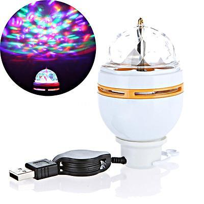 USB Interface RGB 3W LED Auto Rotating Stage Light DJ Party Light Bulb Lamp NEW