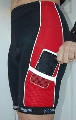 Jaggad Cycling Bike knicks pants shorts Red & Black pockets Mens Womens Ladies