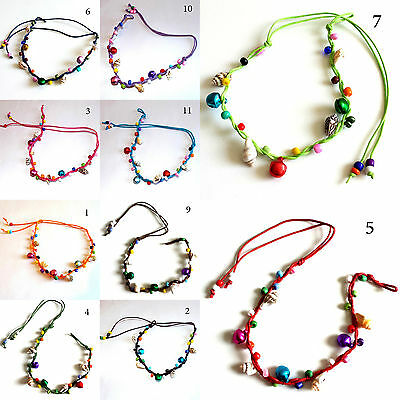 BELLS & SHELLS Ankle Cord Bracelet multicolour Friendship Boho Hippy Surf Anklet