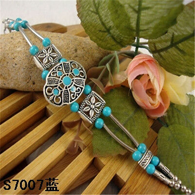 HOT Free shipping New Tibet silver multicolor jade turquoise bead bracelet S75D