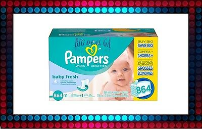 "Pampers Soft Care Baby 864 Wipes  7.0"" X 6.8"" with vitamin E Free Shipping NEW"