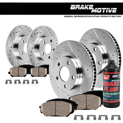 Front + Rear Drilled Slotted Brake Rotors And Ceramic Pads 04 - 08 Acura TL Base