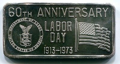 60th Anniversary Labor Day 1973 1 Troy oz .999 Fine Silver Art Bar Great Lakes