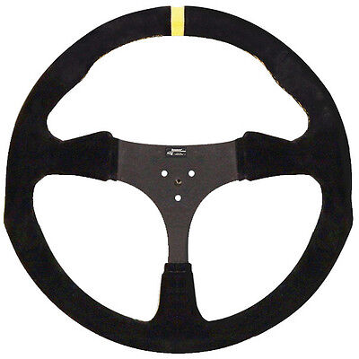 "New Longacre Flat Suede Black Steering Wheel,13"" Aluminum,karting,go Kart"
