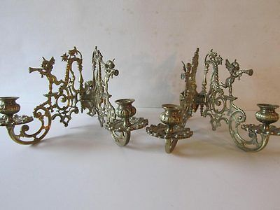 2 Beautiful Antique Brass/Bronze Angel Putti Trumpet Wall Sconces Candlelabras