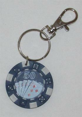 Blue $50 Unit Lucky POKER Blackjack CHIP Casino KEY CHAIN Ring Keychain NEW