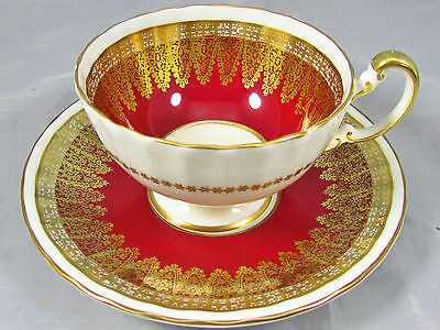 AYNSLEY RICH RED GOLD GILT LACE OBAN STYLE TEA CUP AND SAUCER