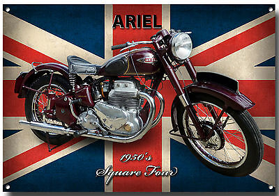 Large A3 Size Ariel Square Four Motorcycle Enamelled Metal Sign.1950's Vintage