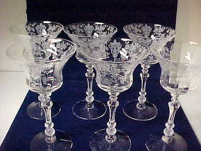 Set of 6 Cambridge Rose Point Crystal Cocktail Stem Goblets Excellent Condition