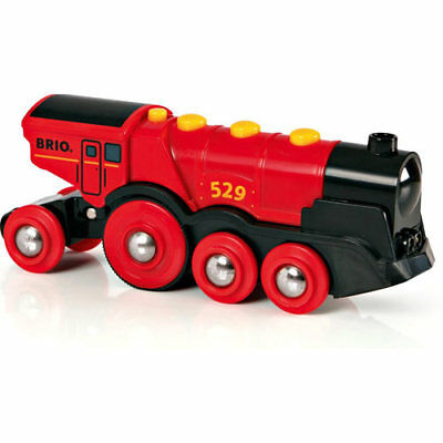 BRIO 33592 Red Mighty Action Lights Loco for Wooden Train Set