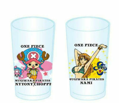 NEW One Piece Mugiwara Pirates 2P Glass Cup Set - Tony Tony Chooper & Nami