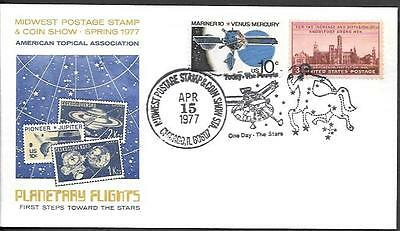 US Space Cover 1977. Planetary Flights. Pioneer Probe. Zodiac. Midwest Expo