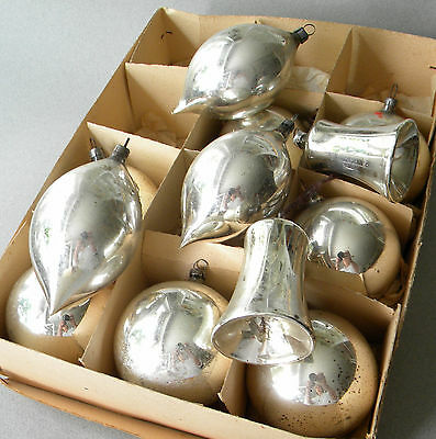 "Mercury Glass 12 Shiny Mix Silver 2.25"" Vintage German Ornaments Germany German"