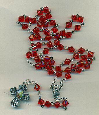 Rosary-8mm Cone Shape Red  Glass  Beads - Guardian Angel Cross