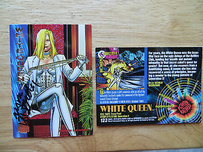 MARVEL UNIVERSE 1994 CARD # 123 WHITE QUEEN SIGNED BY MARK BUCKINGHAM, WITH POA