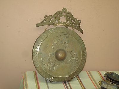 "Vintage Brass Gong Bell Decor Plaque  9.5"" Okir Wax Applique Chinese Philippines"