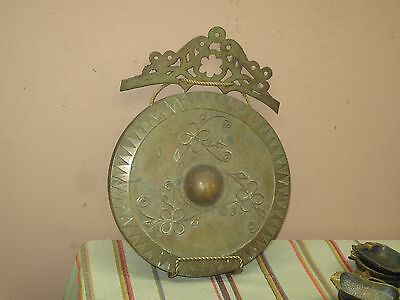"""Vintage Brass Kulintang Wall Decor Plaque Philippines  9.5"""" Okir Wax Applique"""