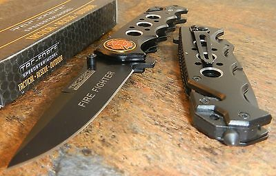 TAC-FORCE FIRE FIGHTER Assisted Opening Glass Breaker Belt Cutter Rescue Knife