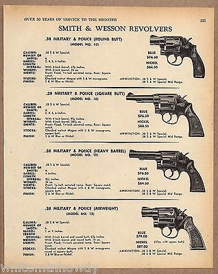 1970 SMITH & WESSON S&W Model 10 Military Police  Round Sq Heavy Air REVOLVER AD