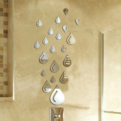 21pcs Rain Water Drop Modern Mirror Wall Home Decal Decor Vinyl Art Stickers