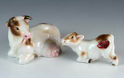 Vintage Bone China Miniature Set of 2 Cow Figurines Mama & Nursing Calf Japan