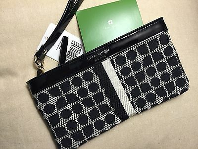 NWT Kate Spade Zippered Chrissy Classic Noel Wristlet Black Wallet Purse Bag Bee