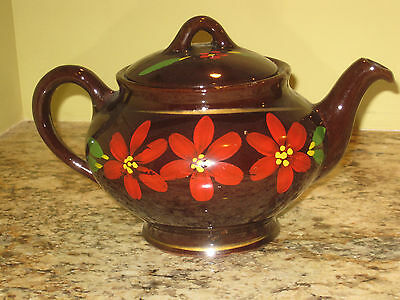 "Vintage ROYAL CANADIAN ART POTTERY Tea Pot Brown &HandPainted Red Flowers 6""x9"""