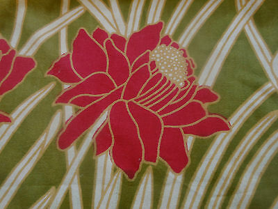 Vintage Retro French LG. Poppy Foliage Floral Cotton Fabric~Wine Red Olive Green