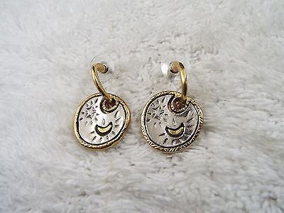 Goldtone Silvertone Moon Star Pierced Earrings (B29)