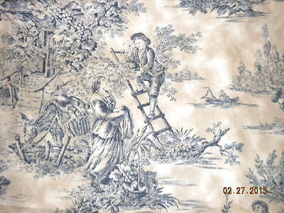 4 Yds Cotton Toile Country Life Scene Fabric-Blue