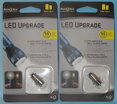 2 MAGLITE LED UPGRADE BULBS for C & D CELL FLASHLIGHTS 2 to 6 CELL FLASHLIGHTS