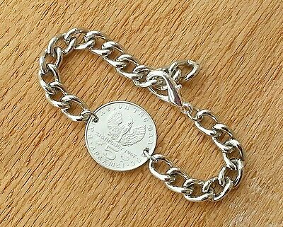 GREEK GREECE PHOENIX BIRD VINTAGE SILVER FOREIGN COIN JEWELRY CURB LINK BRACELET