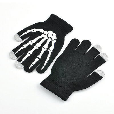 Cool Punk Unisex Skeleton Smart Phone Tablet Touch Screen Gloves Winter Mittens