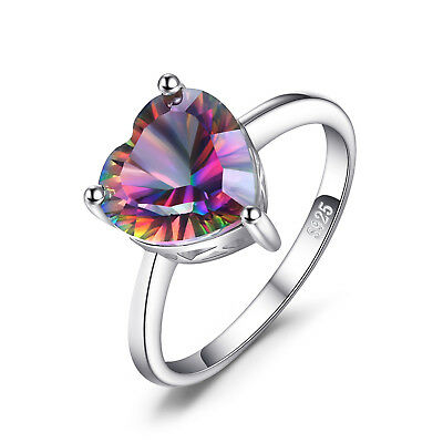 Genuine Mystic Fire Rainbow Topaz Ring 925 Sterling Silver Size 6 7 8 9 New
