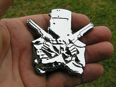 NED KELLY CAR EMBLEM Chrome Metal CAR BADGE *New & UNIQUE* Guns Outlaw