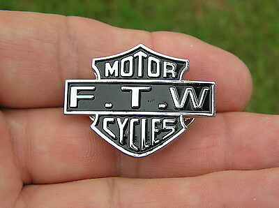 ~ FTW MOTOR CYCLES VEST PIN Badge FOREVER TWO WHEELS suits Harley Davidson *NEW*