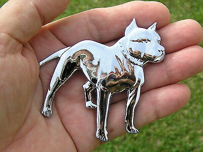 UK ~ PITBULL DOG BADGE Chrome Motorcycle Emblem *NEW UNIQUE suit HARLEY DAVIDSON