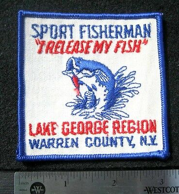 SPORT FISHERMAN EMBROIDERED SEW ON PATCH LAKE GEORGE WARREN COUNTY NY ANGLER  3""