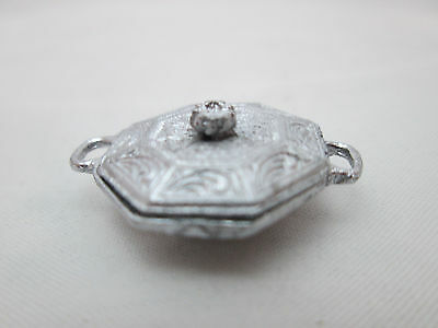 Dollhouse Miniature Unfinished Metal Covered dish