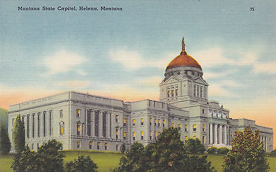Montana Helena State Capitol Building 1930s Linen Vintage Postcard