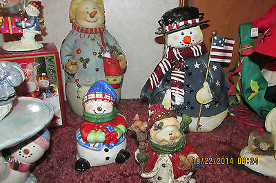 Lot of 12 snowman Different Sizes &Color Some New Some Used