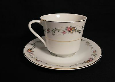 Acsons Diamond China Limoge Japan Cup Saucer Set Floral Spray on Lip Gold Trim