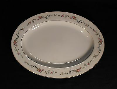 Acsons Diamond China Limoge Japan OVAL SERVING  PLATTER  Floral Spray Gold Trim
