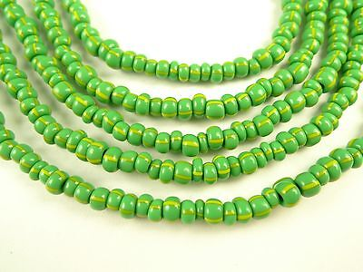 """26"""" lime green stripe yellow Czech glass seed beads tribal African trade"""