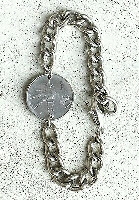 ITALY BODY BLACKSMITH VTG SILVER FOREIGN COIN JEWELRY LINK CHAIN CHARM BRACELET